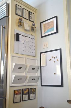 Idea about Home Office DIY - Clear off your countertops with this DIY Kitchen Command Center. Grab a calendar mail slots and dry erase board for the most organized kitchen corner ever! Command Center Kitchen, Family Command Center, Command Centers, Small Bedroom Organization, Office Organization, Organizing Ideas, Bedroom Storage, Organization Station, Household Organization