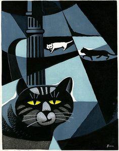 By Tomoo Inagaki (Japanese, 1902-1980), Cat Love, Woodblock Print.