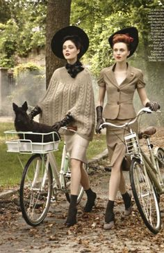 Coco Rocha and Karen Elson in vintage hats from Dorothea's Closet, Vogue Sept 2009..photog Steven Meisel