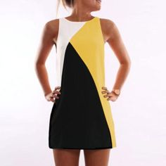 Shopping Round Neck Contrast Trim Contrast Stitching Sleeveless Casual Dresses online with high-quality and best prices Casual Dresses at Luvyle. Clubwear, Stitching Dresses, Geometric Dress, Casual Dresses, Summer Dresses, Beach Dresses, Mini Vestidos, Colorblock Dress, Women's Summer Fashion