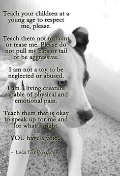 Let's treat our animals with respect. Knowledge is power..please share! Via LolaThePitty.com