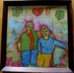 (1)Portrait couple  Tableau peinture sur soie