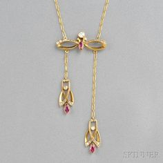 18kt Gold, Ruby, and Diamond Negligee Pendant, the marquise-cut ruby and old mine- and rose-cut diamond bow suspending conforming drops, completed by paper clip chain.