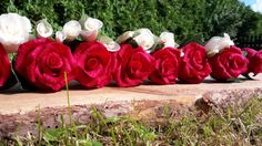 Wedding Red Ivory Crepe paper flowers table by moniaflowers