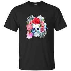 Watercolor Scull & Flowers Unisex T-Shirt DIY #cutuptee