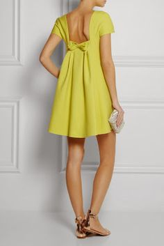 Valentino Wool Silk Bow Back Boatneck Dress in Yellow Knockoff