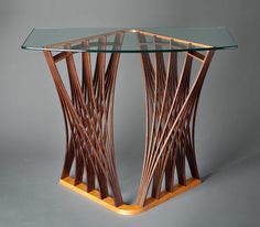 Parabola Display Table: Seth Rolland: Wood & Glass Hall Table - Artful Home