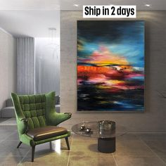 Original Oversize Abstract Painting Sunset Painting Contemporary Art Colorful Painting On Canvas Blue Painting Orange Painting | COLORFUL SUNSET