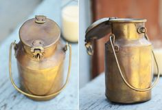 Vintage Indian Brass Milk Pot