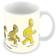 Caneca Porcelana Personalizada A Evolução de Homer Simpson