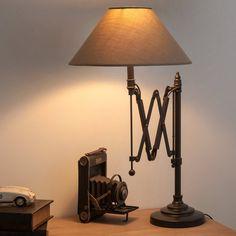 Lampe de chevet accordéon en métal et abat-jour en coton H 63 cm COLOGNE