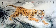 Chinese Tiger x x Painting. Buy it online from InkDance Chinese Painting Gallery, based in China, and save Tiger Tattoo, Cat Tattoo, Chinese Tiger, Chinese Art, Chinese Dragon Drawing, Chen, Tiger Sketch, Tiger Pictures, Tiger Painting