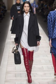 Shirt: dress boots jacket runway model milan fashion week 2017 bella hadid white fendi