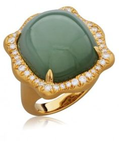 Engagement Ring:Portrait Ripple Ring set with Siberian Jade and Diamonds in 18KT Yellow Gold