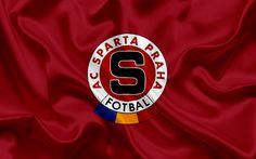 Lataa kuva Sparta Praha, Football club, Praha, Tšekin Tasavalta, tunnus, Sparta-logo, viininpunainen silkki lippu, Tšekin jalkapallon mestaruuden