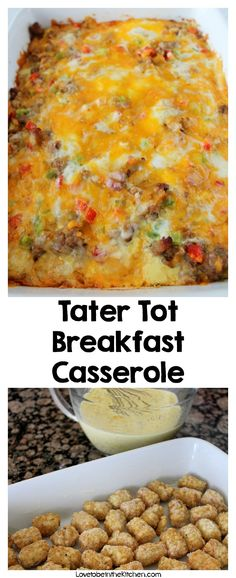 This Tater Tot Breakfast Casserole Has Super Creamy Eggs, Bacon And 2 Kinds Of Cheese! It's Easy To Make Ahead Of Time And Is Perfectly Freezer-friendly!. Breakfast Cassarole, Christmas Breakfast Casserole, Tater Tot Breakfast Casserole, Overnight Breakfast Casserole, Fall Breakfast, Savory Breakfast, Breakfast Bake, Breakfast Dishes, Breakfast Ideas