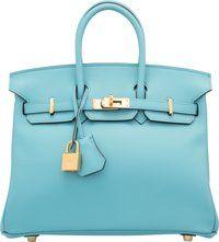 "Hermes 25cm Blue Saint Cyr Swift Leather Birkin Bag with Gold Hardware T, 2015 Pristine Condition 9.5"" Width x 8&qu..."