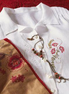 Quelques gouttes de peinture textile suffisent à recouvrir les broderies d'une chemise pour apporter un peu de couleur au blanc ! Sur Marie Claire Idées .com