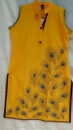 "Fabric hand painted kurti. Size - xl,100%cotton, length 42"", sleeve attached inside, colour- yellow"