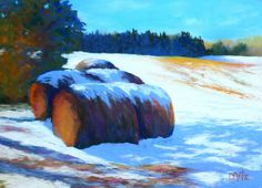 Winter Bales - Hay bales are visible everywhere in the landscape. They are very paintable but difficult for me to do. These old bales in a neighbor's field offered a study in light and shadow and a chance to push the colors... $380