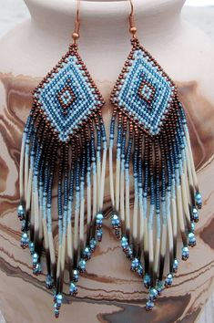 Beaded earrings 62980094761789058 - Navajo Rug Pattern Porcupine Quill by CreationsbyWhiteWolf Source by Seed Bead Jewelry, Seed Bead Earrings, Beaded Earrings, Seed Beads, Beaded Jewelry, Fringe Earrings, Angel Earrings, Yellow Earrings, Feather Earrings