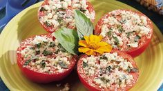 Cheesy Grilled Tomatoes - Blue and basil tip the flavor scale on grilled tomatoes.