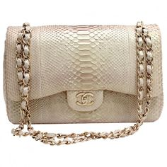 GOLD/BEIGE PYTHON TIMELESS CLASSIC JUMBO DOUBLE FLAP BAG CHANEL (€4.905) ❤ liked on Polyvore featuring bags, handbags, chanel, purses, bolsas, snake print handbag, brown hand bags, handbag purse, python handbags and brown purse