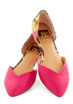 Dreaming of Destinations Flat in Fuchsia by BC Footwear - Flat, Leather, Pink, Multi, Solid, Floral, Daytime Party, Valentine's, Better, Var...
