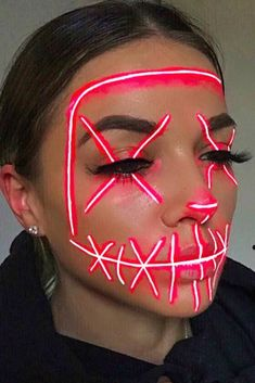 Neon Party Mask Makeup #neonmakeup  When creating your unique spooky look Halloween makeup is the first thing to consider. To help you decide what kind of creature you will turn into we've collected lots of easy pretty and scary ideas for everyone. See how to create dark skeleton makeup how to become a creepy glittery witch and how to amaze people with sexy vampire makeup. #halloween #halloweenmakeup #makeupideas #makeup