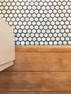 Childrens bathroom Cepac Cirque penny round tile salvaged fir floor Miller P bathroom tiles Childrens Bathroom, Small Bathroom, Master Bathroom, Gold Bathroom, Washroom, Bathroom Sets, Bathroom Wall, Bathroom Storage, Penny Tile Floors
