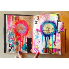 allmixedupart: Art Journal Page - Finished #artjournal spread i have become obsessed with circles lol #artjournaling #art #mixedmedia #neon #instaart #instagood #instafollow by oofrecklesoo http://ift.tt/1yhX95J