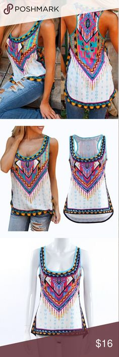 Super Chic Bohemian Tank Top Printed tank top. Sizes run small. I recommend to go 1 size up.  Super fun sheer light weight tank top. Super Chic! Material: Polyester  Please feel free to ask questions See chart for correct size Tops Tank Tops