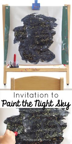 to Paint the Night Sky Invite kids to paint the starry night sky with this simple process art activity!Invite kids to paint the starry night sky with this simple process art activity! Space Preschool, Space Activities, Preschool Crafts, Art Center Preschool, Process Art Preschool, Summer Activities, Projects For Kids, Crafts For Kids, Art Projects