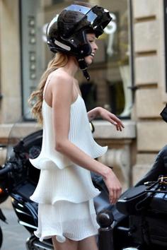 in a dress, riding on the back of my boyfriends vespa in Venice. <3