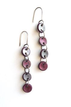 Colorful pebble drop earrings in red and pink.  Genevieve Williamson