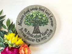 """Personalized Hydrangea Memorial Garden Stone, 12"""" Round - SAM Designs Nurse Retirement Gifts, Nurse Gifts, Teacher Gifts, Retirement Parties, Painted Stepping Stones, Employee Appreciation Gifts, Employee Gifts, Volunteer Appreciation, Memorial Garden Stones"""