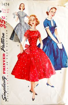 Vintage 1950s Simplicity Junior's Misses' by NostalgiaVintage2, $13.50