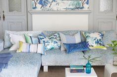 Designers Guild sky blue cushion range