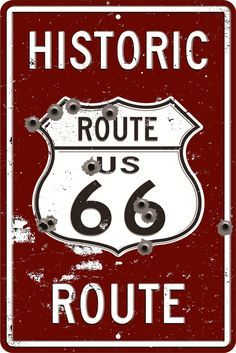 Historic Route 66 Metal Shield