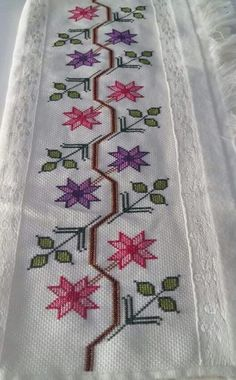 This Pin was discovered by GÖN Funny Cross Stitch Patterns, Cross Stitch Borders, Cross Stitch Flowers, Cross Stitch Designs, Cross Stitching, Cross Stitch Embroidery, Silk Ribbon Embroidery, Hand Embroidery, Embroidery Designs