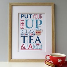 Tea And Biscuit Typographic Tea Print by designedbywink on Etsy