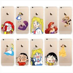 Ultra Thin Cute Cartoon Pattern Clear Hard Case Cover for IPhone 5s 5c 6 6 plus #New sailor moon and shin chan