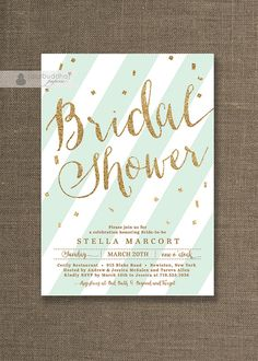Mint & Gold Bridal Shower Invitation Gold by digibuddhaPaperie, $20.00. I want this in pink!