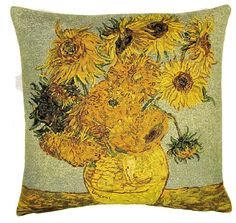 This Museum Collection gobelin cushion cover shows part of the famous painting Vase with Sunflowers by Vincent Van Gogh (30 March 1853 – 29 July 1890) a major Post-Impressionist painter. He was a Dutch artist whose work had a far-reaching influence on 20th-century art. His output includes portraits, self portraits, landscapes and still lifes of cypresses, wheat fields and sunflowers. Van Gogh drew as a child but did not paint until his late twenties; he completed many of his best-known works…