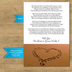 Our personalised wedding poem cards are available in 2 sizes - A7 & A6. 4 pre-worded verses to choose from - or we can print your own. | eBay!