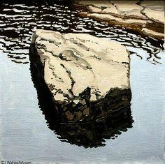 Etude pour Flat Boulder réfléchie, huile sur toile de Neil Gavin Welliver (1929-2005, United States)
