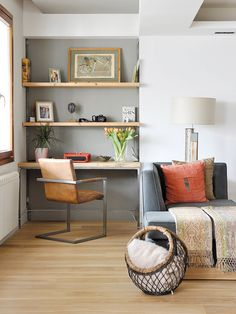 coral / grey / shelves / home office