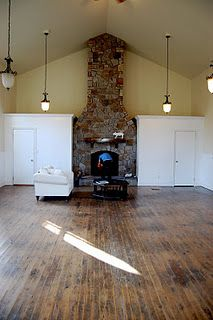 coriander girl's converted church. that fireplace!
