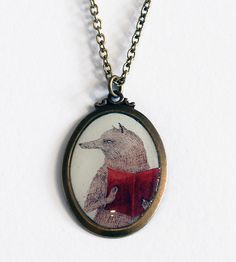 Fox Reading Necklace