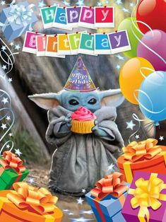 Star Wars Art Discover Baby Yoda - happy birthday Someone is having a baby yoda themed something. Hes too damn cute.